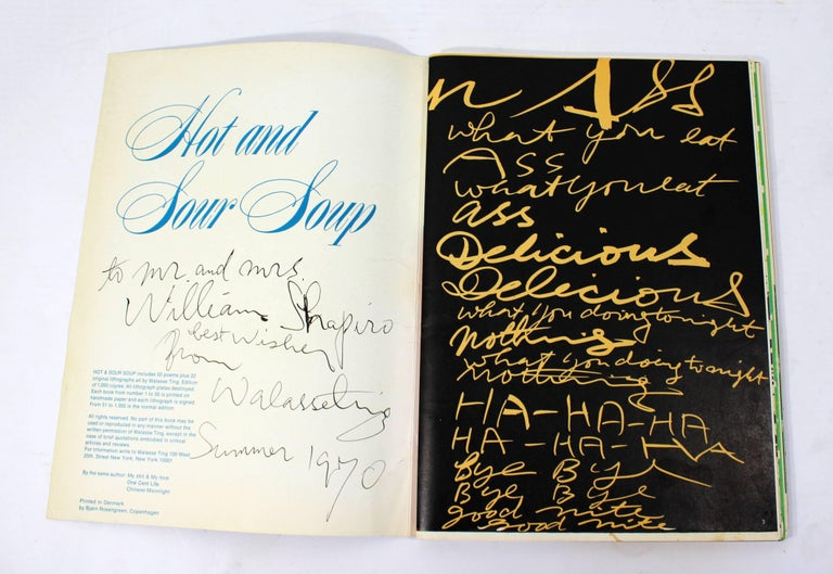 American Mid-Century Modern Poetry & Art Book Signed Hot And Sour Soup, 1969 Walasse Ting For Sale