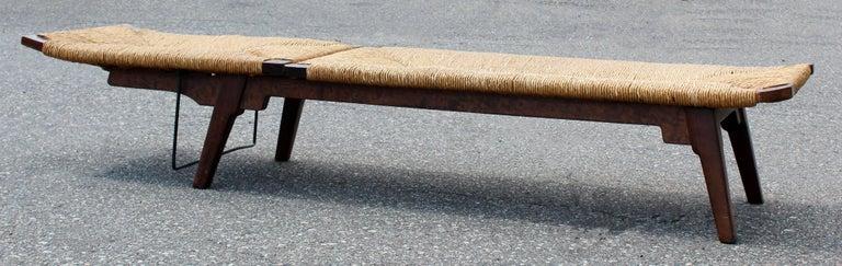 Mid Century Modern Rush Wicker Rattan Wood Chaise Bench