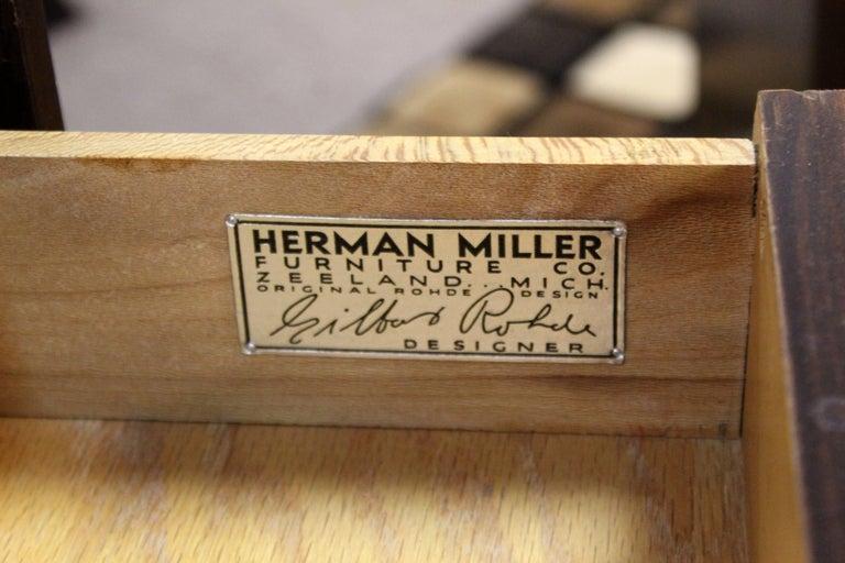 Vintage Art Deco Gilbert Rohde for Herman Miller Mahogany Vanity & Mirror, 1930s For Sale 3