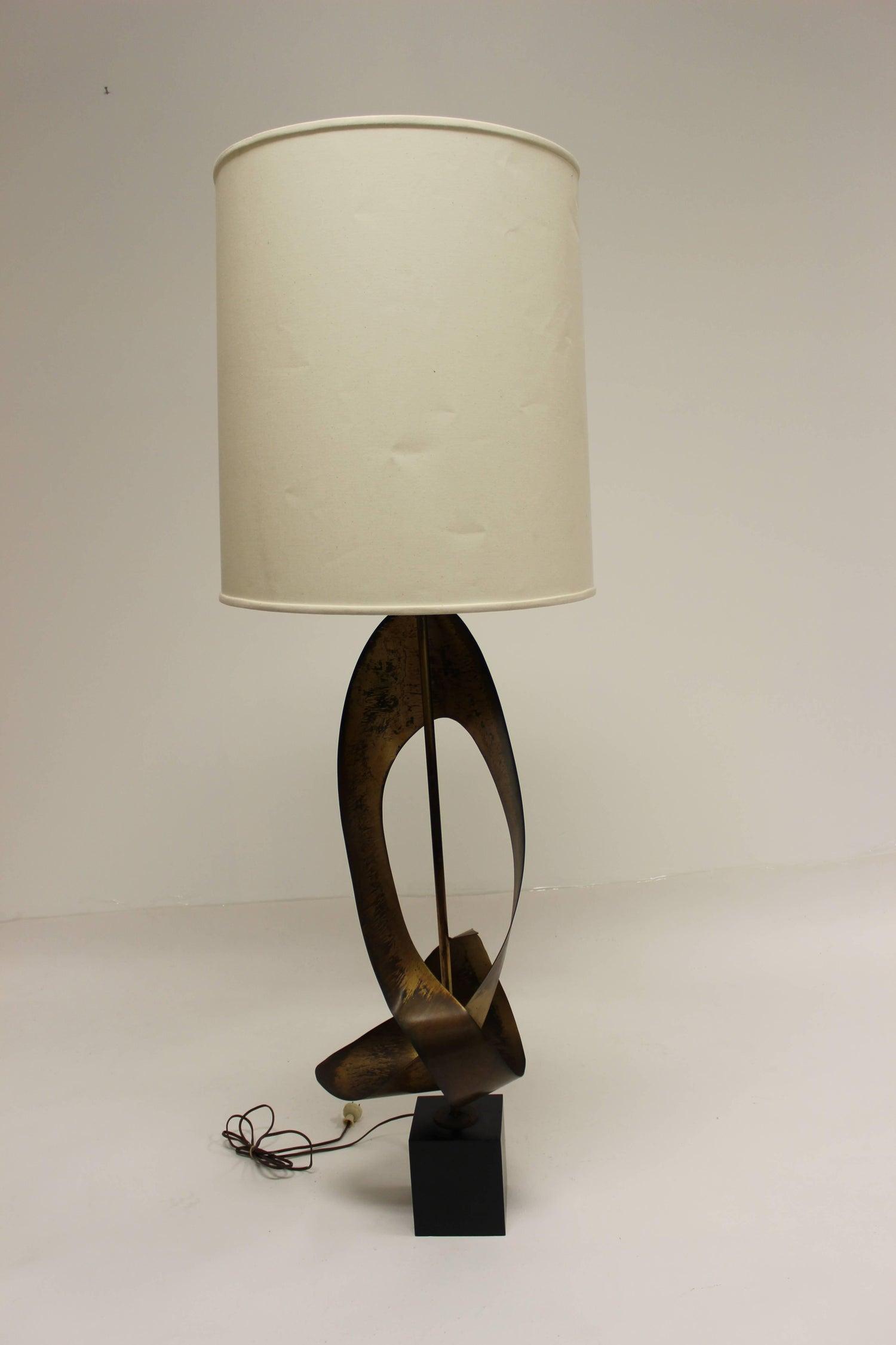 Mid Century Modern Harry Balmer For Laurel Brutalist Ribbon Lamp At