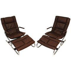 Mid-Century Modern Ingmar Relling Pair of Lounge Chairs and Ottomans, Danish