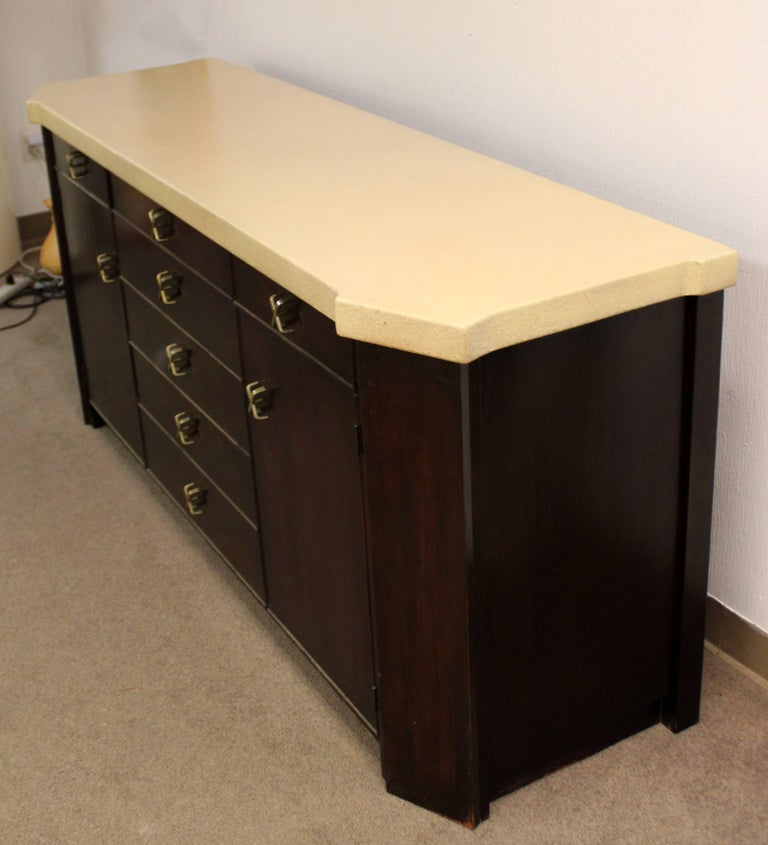 American Mid-Century Modern Paul Frankl for Johnson Cork Top Mahogany Credenza, 1950s For Sale
