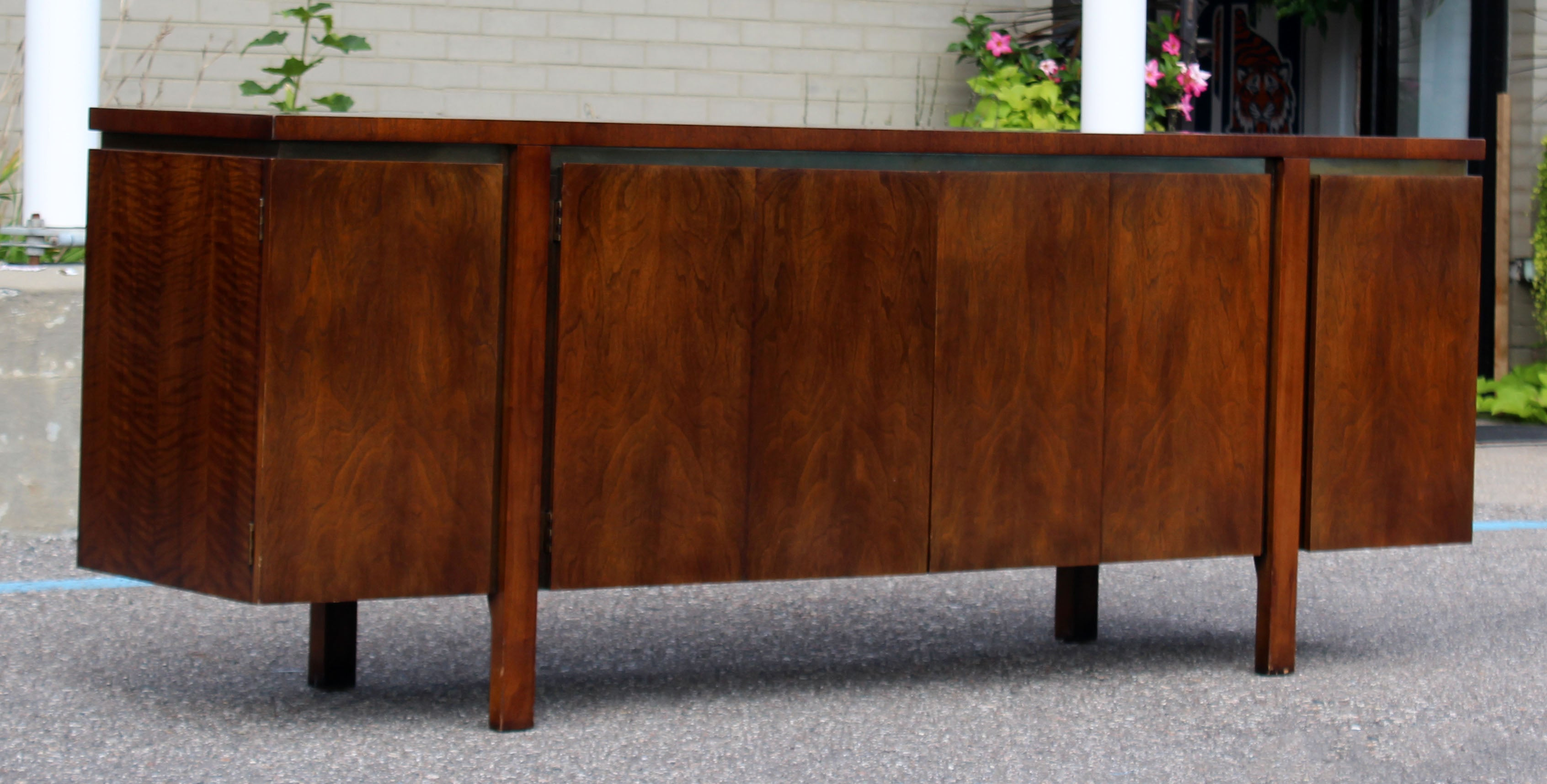 Mid Century Modern Dale Ford For Widdicomb Parquet Top Walnut Brass Credenza  At 1stdibs