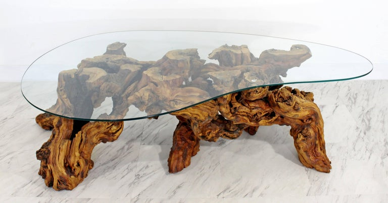 American Mid-Century Modern Michael Weiss Grapevine Kidney Glass Top Coffee Table For Sale