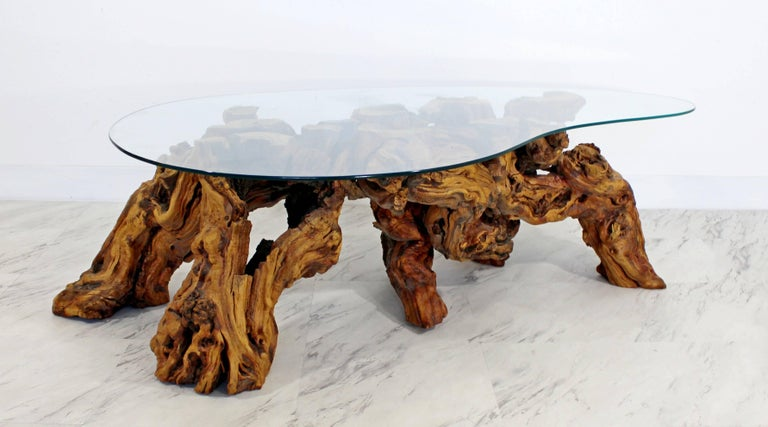Mid-20th Century Mid-Century Modern Michael Weiss Grapevine Kidney Glass Top Coffee Table For Sale
