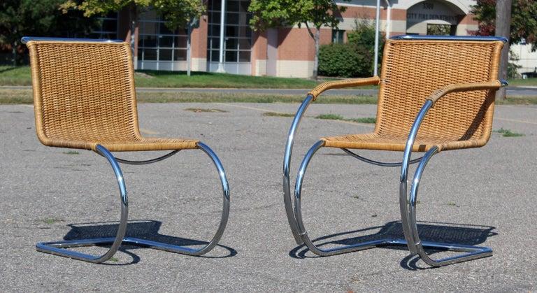 Danish Mid-Century Modern Mies van der Rohe Stendig Cane Chrome Set of Dining Chairs