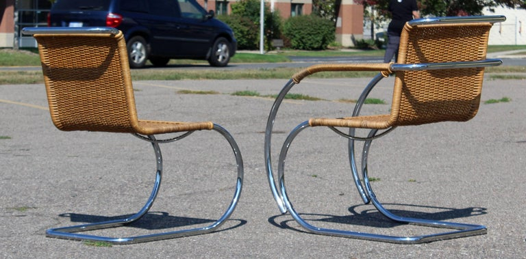 Mid-Century Modern Mies van der Rohe Stendig Cane Chrome Set of Dining Chairs 2