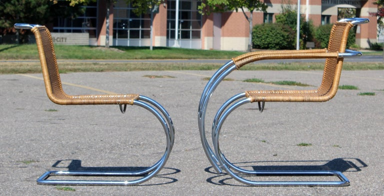 Mid-Century Modern Mies van der Rohe Stendig Cane Chrome Set of Dining Chairs 1