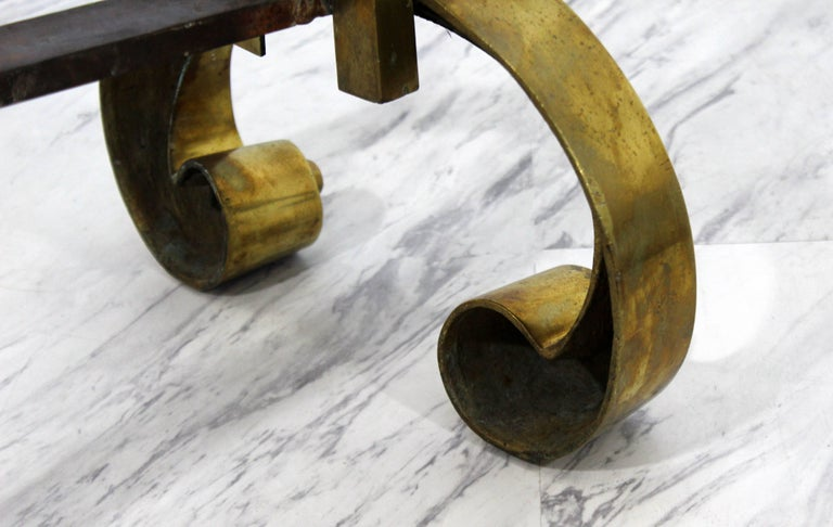 Art Deco Pair Of Solid Brass And Iron Metal Andirons Decorative Fireplace Tools For Sale At 1stdibs