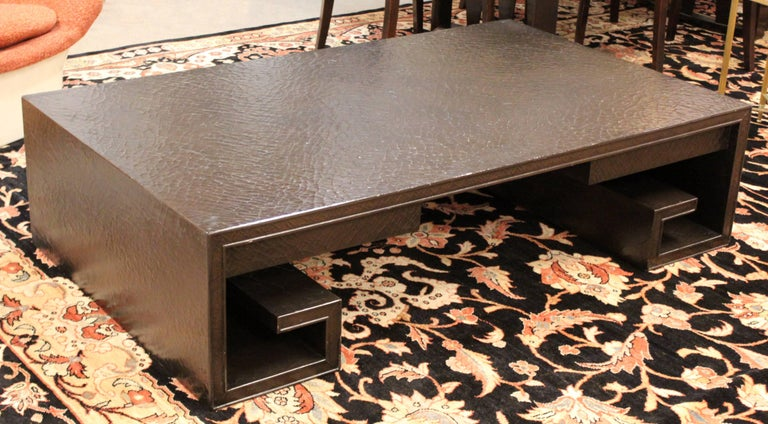 American Mid-Century Modern Crackle Lacquer Scroll Coffee Table Thomas Pheasant for Baker For Sale