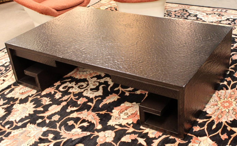 Mid-Century Modern Crackle Lacquer Scroll Coffee Table Thomas Pheasant for Baker For Sale 1