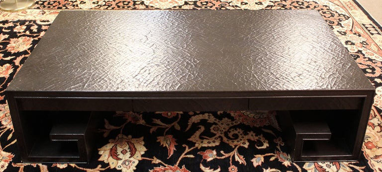 Mid-Century Modern Crackle Lacquer Scroll Coffee Table Thomas Pheasant for Baker For Sale 2