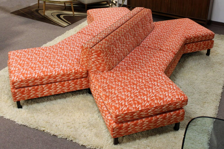 Mid Century Modern Pair Of Rare Curved Sofas Sectional