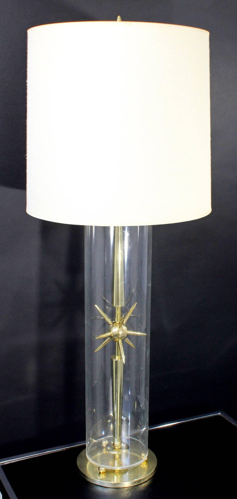 American Mid-Century Modern Sputnik Atomic Glass & Brass Table Lamp by Mutual Sunset Co. For Sale