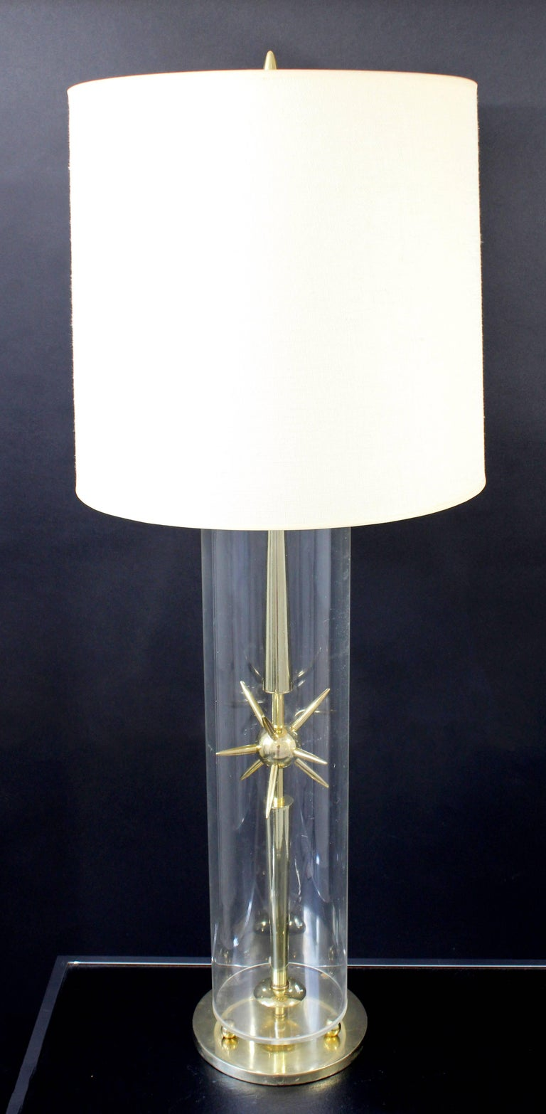 Mid-Century Modern Sputnik Atomic Glass & Brass Table Lamp by Mutual Sunset Co. For Sale 5