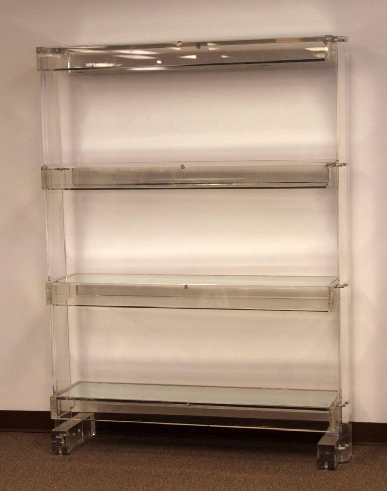 American Mid Century Modern Prismatique Lucite Mirrored Tagre Bookshelf Hollis Jones For Sale