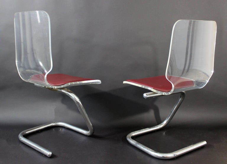 Chrome Mid-Century Modern Set of Four Lucite Dining Chairs by Luigi Bardini for Hill For Sale