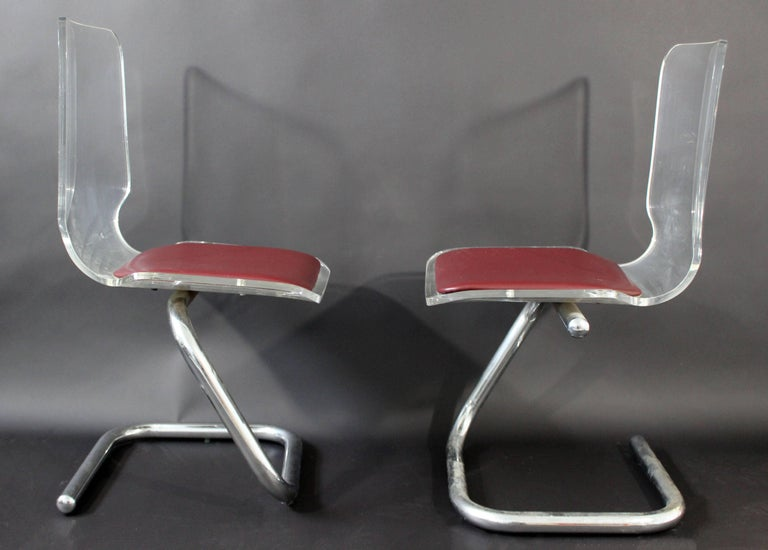 Late 20th Century Mid-Century Modern Set of Four Lucite Dining Chairs by Luigi Bardini for Hill For Sale