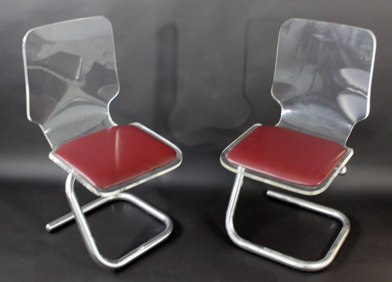 Mid-Century Modern Set of Four Lucite Dining Chairs by Luigi Bardini for Hill In Good Condition For Sale In Keego Harbor, MI