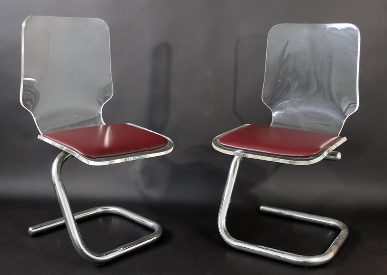 Italian Mid-Century Modern Set of Four Lucite Dining Chairs by Luigi Bardini for Hill For Sale