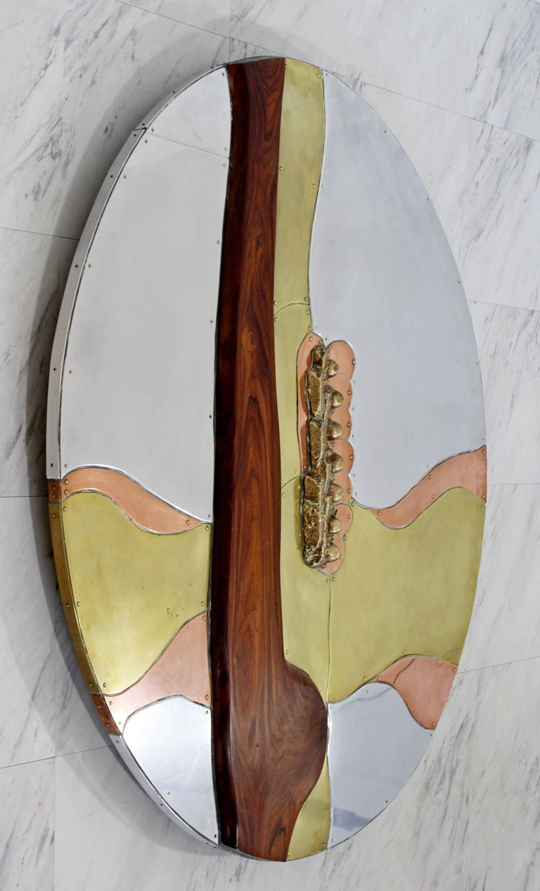 Mid-Century Modern Thom Wheeler Brutalist Brass Copper Wall Sculpture, 1978 In Good Condition For Sale In Keego Harbor, MI