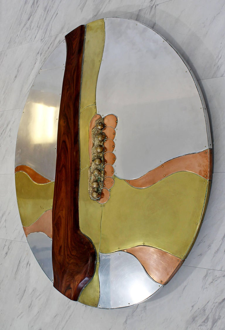 For your consideration is a phenomenal wall art sculpture, made of brass, copper, aluminium, signed and dated by Thom Wheeler, 1978. In excellent condition. The dimensions are 36