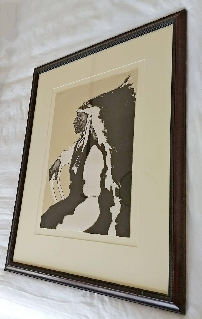 Mid-Century Modern Framed Print of Native American Signed Fritz ...