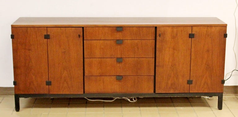 American Mid-Century Modern Walnut Credenza Sideboard Kipp Stewart for Directional, 1950s For Sale