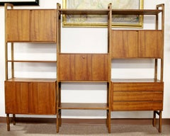Vintage Mid-Century Modern Walnut Free Standing Wall Unit Room Divider, 1960s