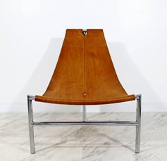 Mid-Century Modern Steel T Lounge Chair Attributed to Katovolos 1950s Leather