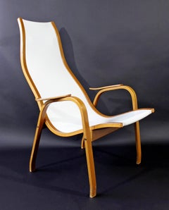 Mid-Century Modern White Vinyl Lamino Bentwood Chair Made in Sweden, 1950s
