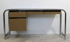 Mid-Century Modern Tubular Chrome Brown Leather Top Desk by Sunar Hauserman