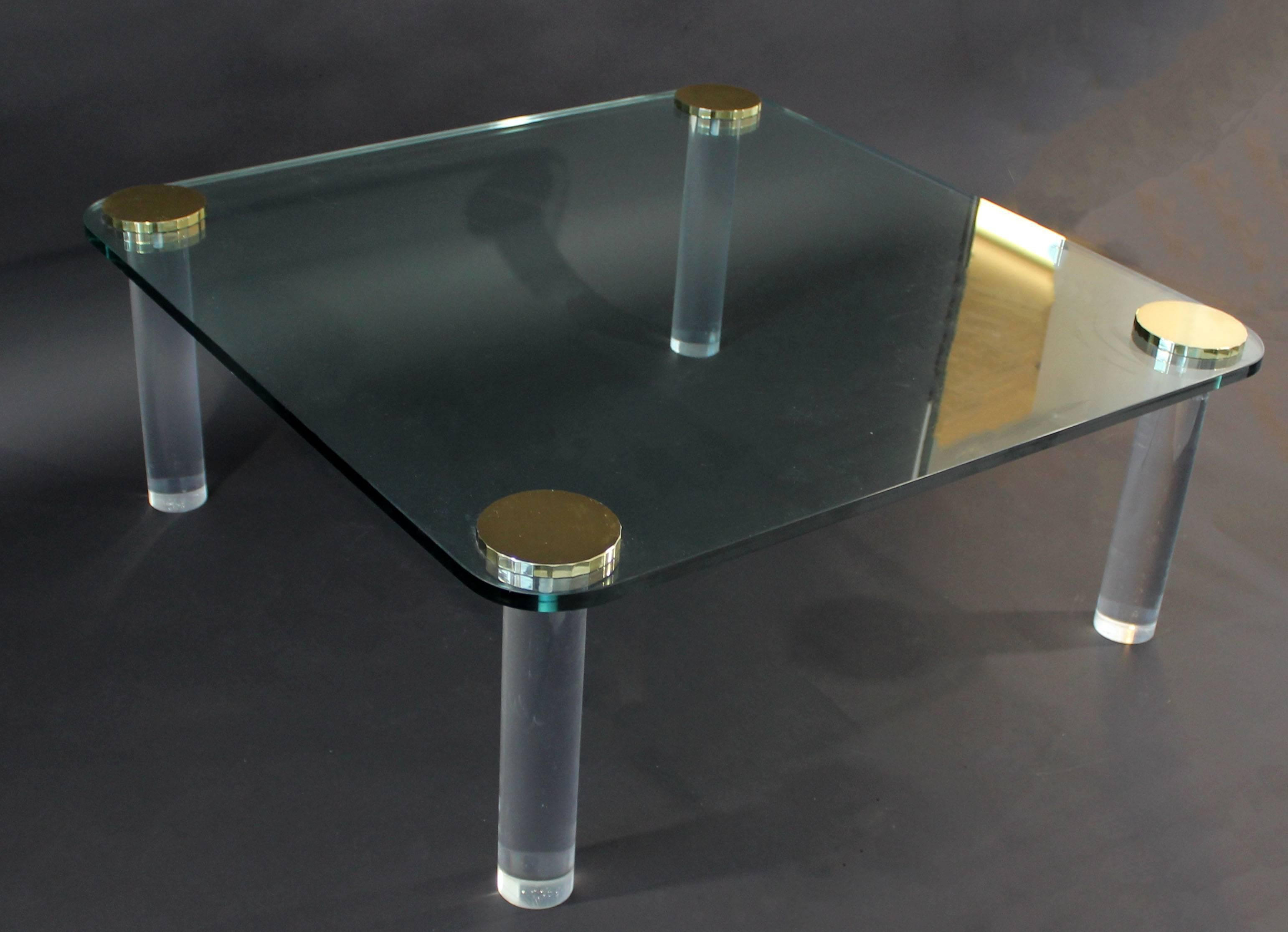 American Mid Century Modern Brass Glass Square Lucite Coffee Table For Sale