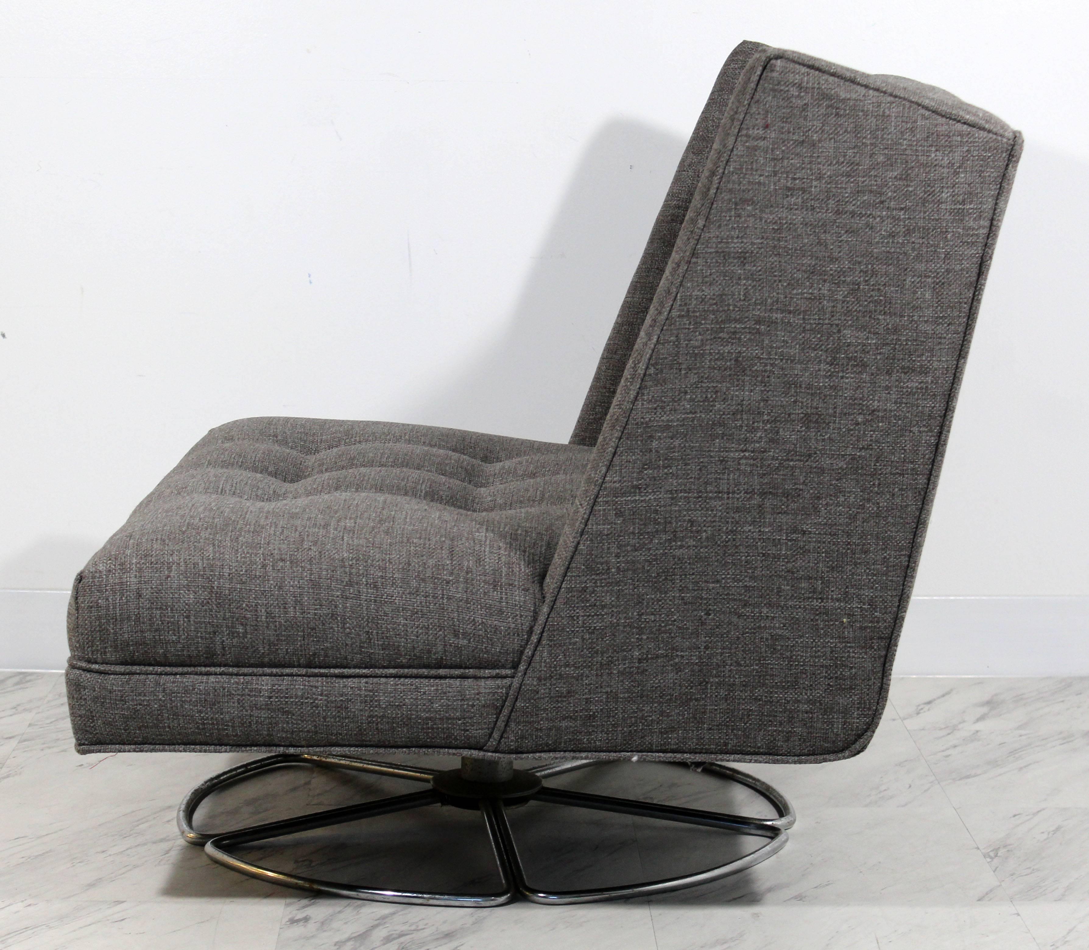 Mid Century Modern Low Gray Swivel Chair And Ottoman Chrome Base Baughman  Era For Sale