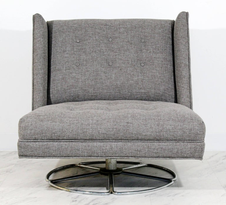 Mid Century Modern Low Gray Swivel Chair And Ottoman