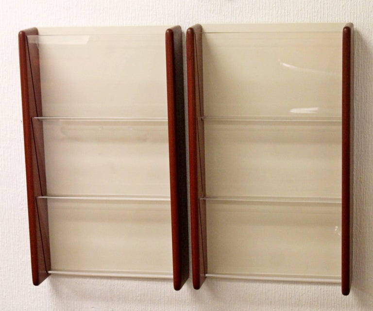 Mid Century Modern Pair Of Peter Pepper Walnut Wall Mount