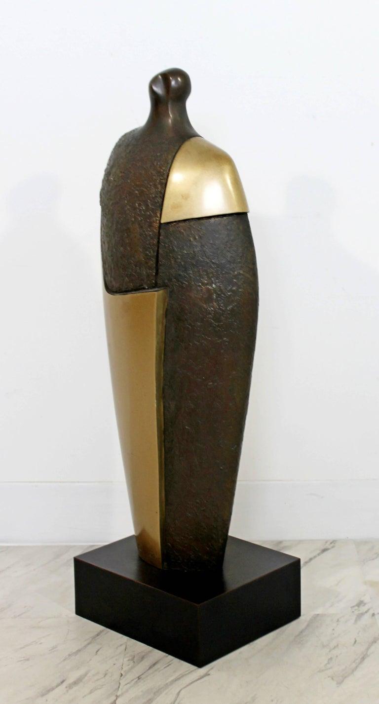 Late 20th Century Mid-Century Modern Bronze Brass Figure Table Sculpture John Baldwin Numbered 2/6 For Sale