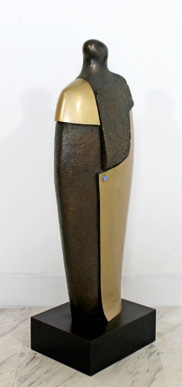 American Mid-Century Modern Bronze Brass Figure Table Sculpture John Baldwin Numbered 2/6 For Sale