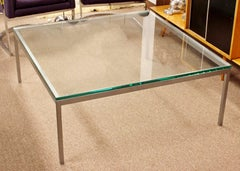 Mid Century Modern Original Vintage Large Knoll Metal Glass Square Coffee Table
