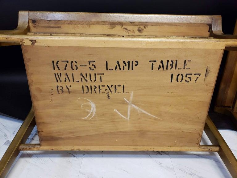 Mid-Century Modern Pair of John Van Koert for Drexel Walnut Side End Tables For Sale 7