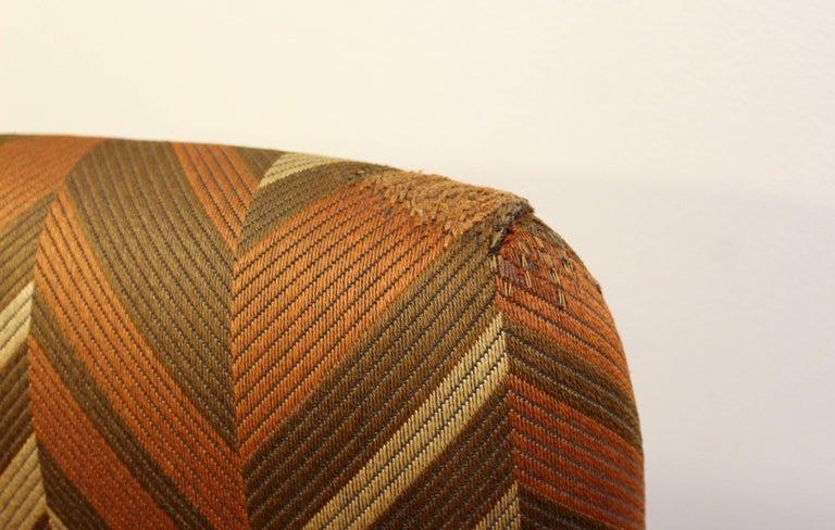 Chrome Mid-Century Modern Pair of Baughman Thayer Coggin Wood Club Barrel Swivel Chairs For Sale