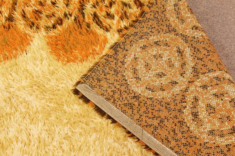 Mid-Century Modern Rectangular Rya Area Rug Carpet Orange 1960s Sunburst Pattern For Sale 1