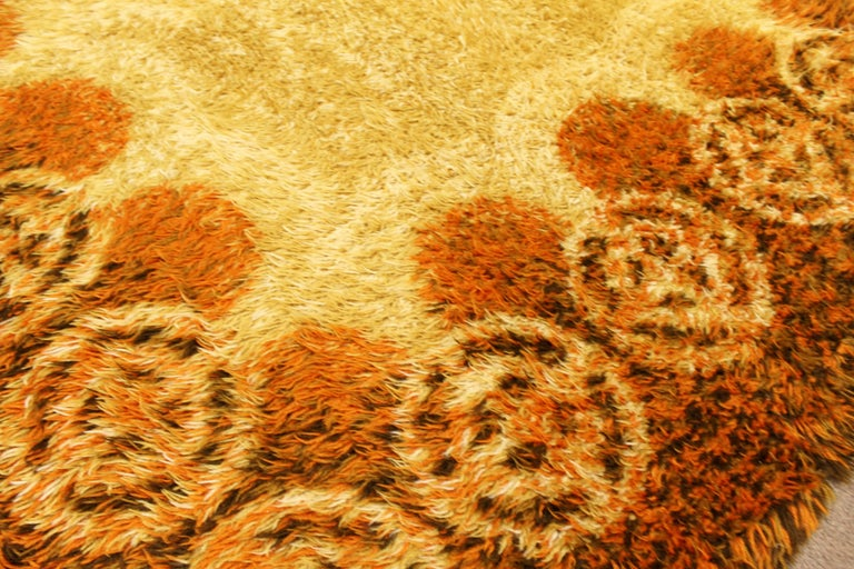 Mid-20th Century Mid-Century Modern Rectangular Rya Area Rug Carpet Orange 1960s Sunburst Pattern For Sale