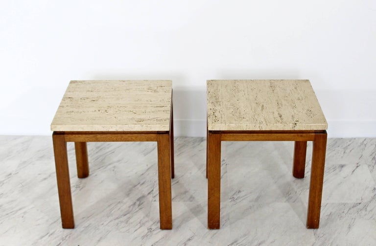 American Mid-Century Modern Harvey Probber Pair of Square Travertine Side End Tables For Sale