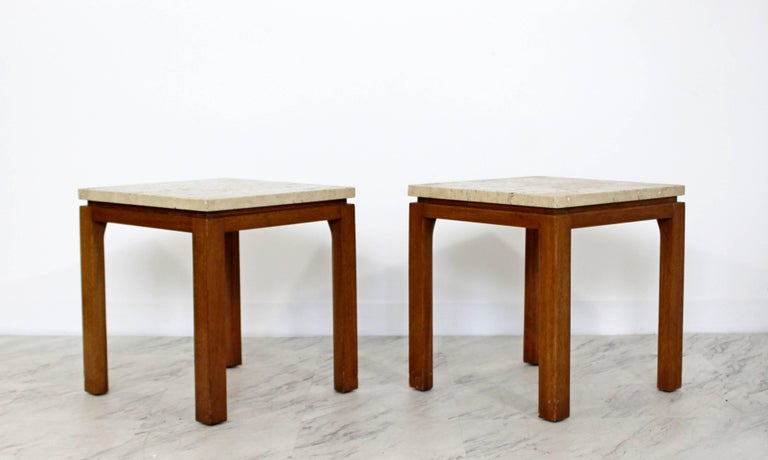 Mid-Century Modern Harvey Probber Pair of Square Travertine Side End Tables In Good Condition For Sale In Keego Harbor, MI