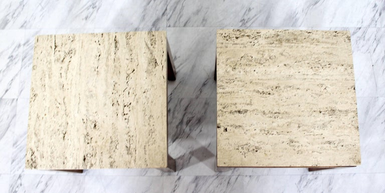 Mid-20th Century Mid-Century Modern Harvey Probber Pair of Square Travertine Side End Tables For Sale