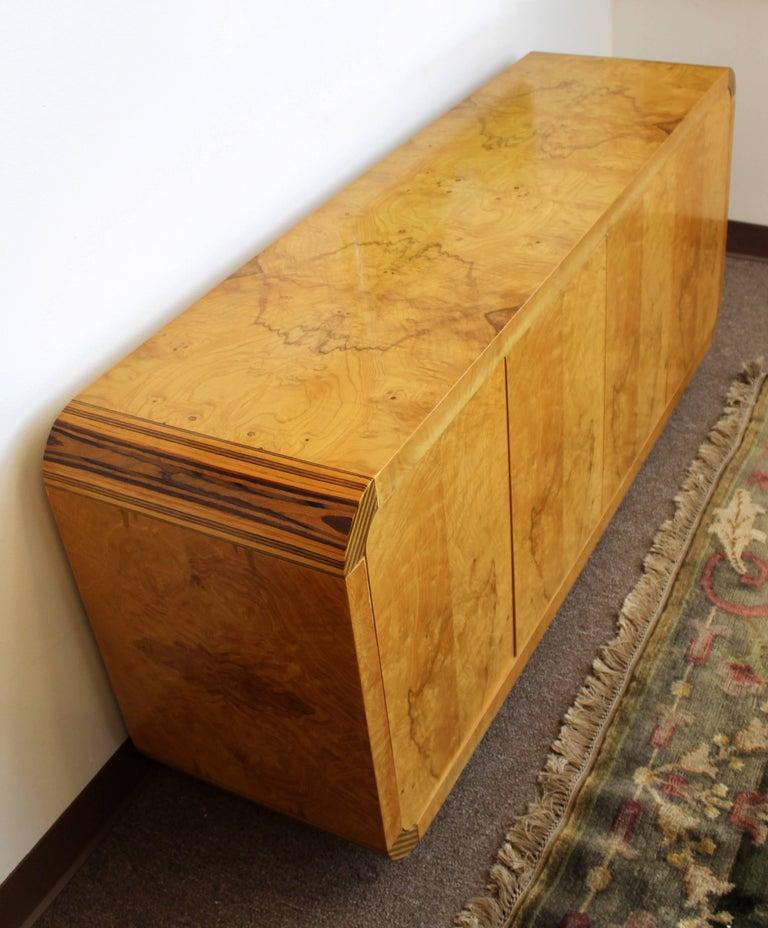 Wood Mid-Century Modern Burled Olivewood Ebony Credenza Henredon Scene 2, 1970s For Sale