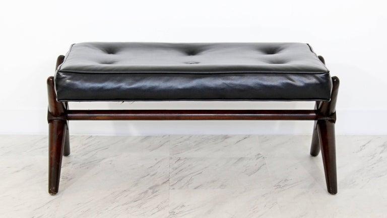 American Mid-Century Modern Robsjohn Gibbings Trestle X Base Black Leather Tufted Bench For Sale