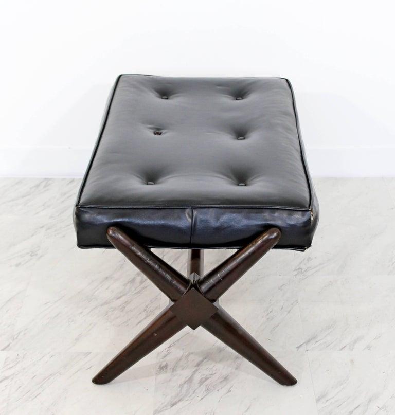 Mid-20th Century Mid-Century Modern Robsjohn Gibbings Trestle X Base Black Leather Tufted Bench For Sale