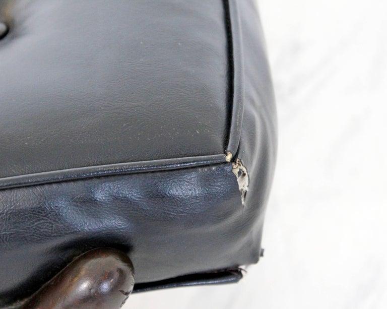 Mid-Century Modern Robsjohn Gibbings Trestle X Base Black Leather Tufted Bench For Sale 1